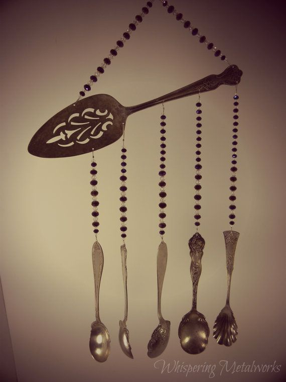 Wind chime with re purposed vintage silver & 145 best Wind chimes - vintage silver plated flatware and other ...