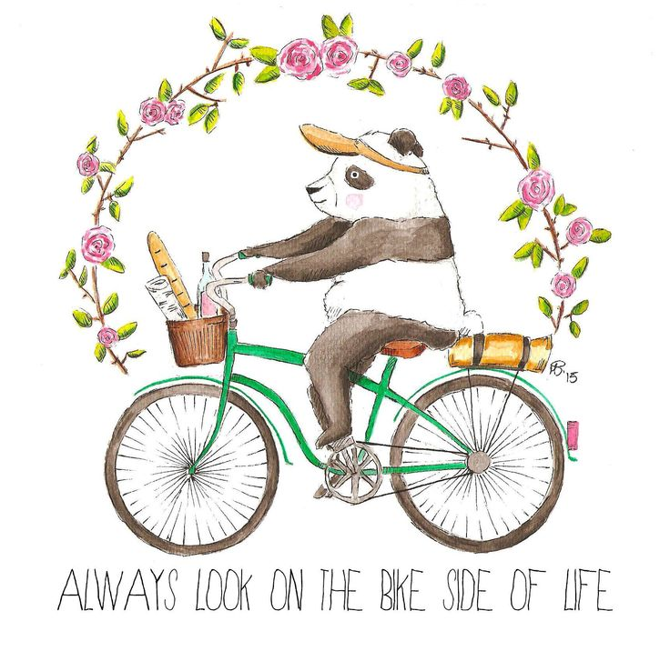 Always look on the bike side of life - panda on a bicycle, watercolor