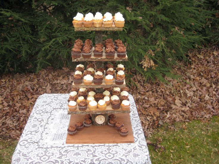 Rustic Cupcake Stand Log Slices 5 Tier X Large by YourDivineAffair, $159.95