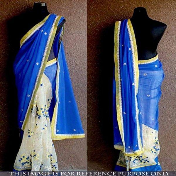 Georgette+Thread+Work+Royal+Blue+&+White+Half+&+Half+Saree+-+ND44 at Rs 1799