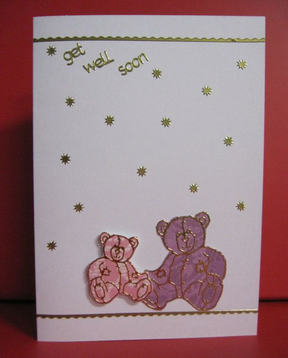 Handmade Card Get Well with Pink and Purple Teddy Bears
