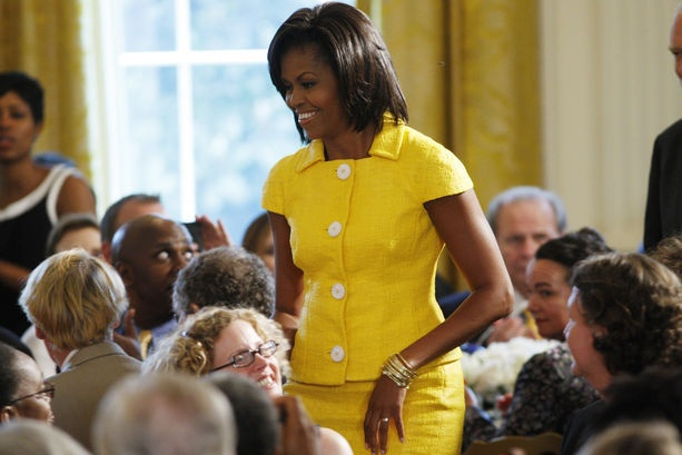 Michelle in Radiant YellowLady Michelle, Radiant Yellow, Mellow Yellow, Michelle Obama, Flotus Michelle, Michele Obama, Obama Affirmations, Michelle O' Bama, Bright Yellow