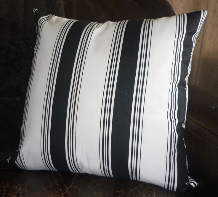 Black & white multi stripe cushion cover