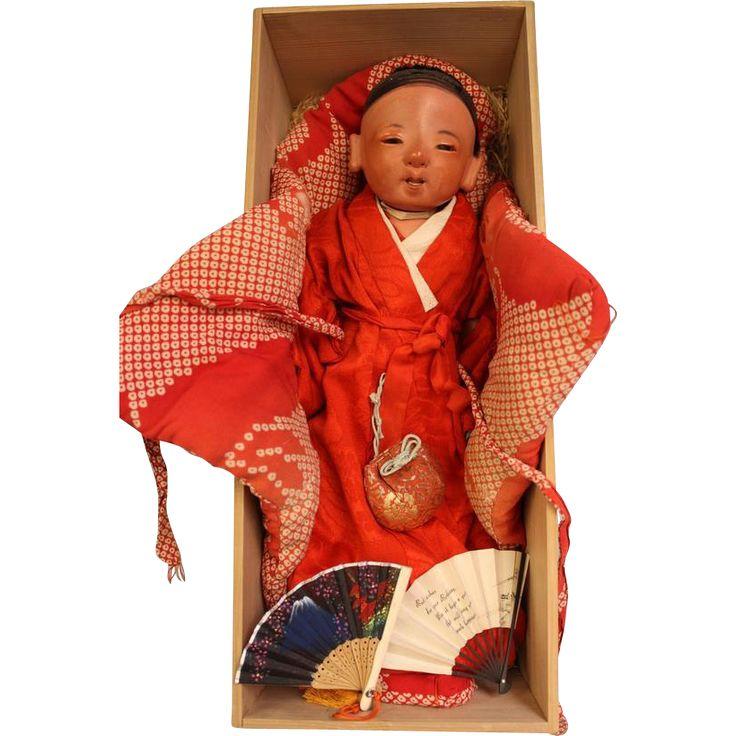 16 inch Japanese Ichimatsu sexed boy baby c.1880 Red tint gofun Kimono  box This 16 Japanese sexed baby boy doll, circa 1880's Meiji era, has a highly