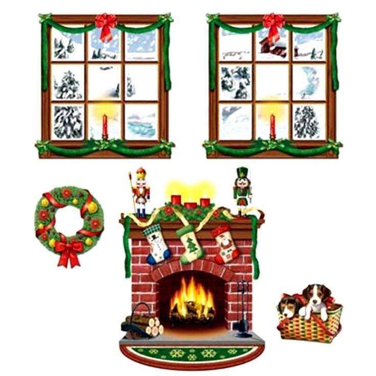 Superior 5pc Fireplace Wreath Wall Mural Holiday Christmas Scene Setter Photo  Backdrop Part 11