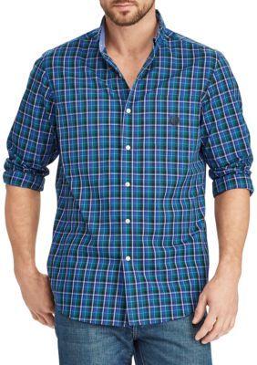Chaps Men's Plaid Cotton-Blend Shirt - Teal - 2Xl