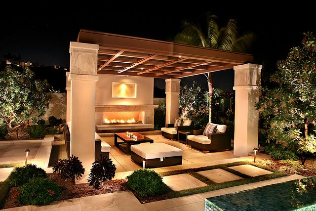 Covered patio; Backyard swimming pool and fireplace.