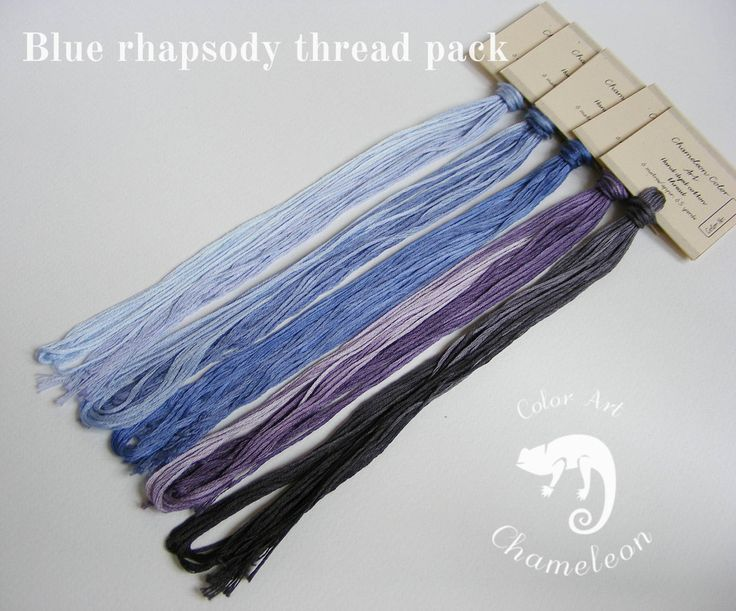 5 PCS Pure Cotton THREAD PACK named Blue rhapsody - 6 metres/6.5 yards each by ChameleonColorArt on Etsy