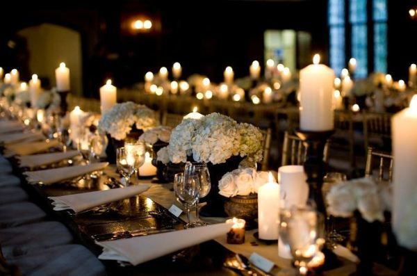 long tables + candles