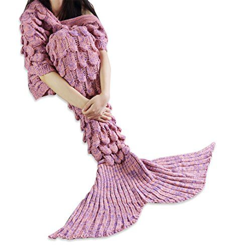 Handcrafted Crochet Knitting Mermaid Tail Blanket Sofa Blanket Soft Rug Sleeping Bag for Adult & Teens Coral Pink (Size Large, 82