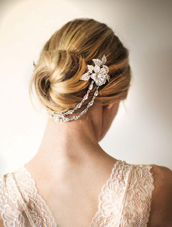 Bridal Hair Chain, Wedding Hair Wrap Halo Gold Silver, Grecian Headpiece Gold Silver, Draped Hair Comb, Floral Hair Wreath - 'TULA'
