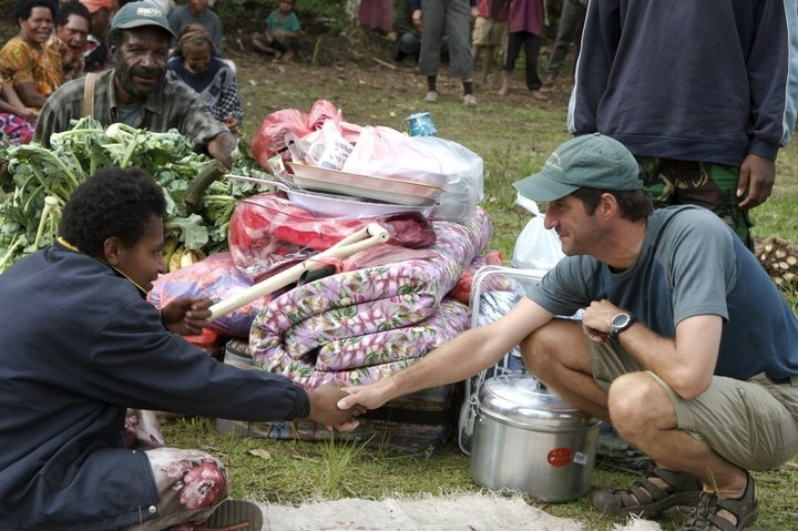 Kensington's Karl Kannstadter barters at a local market in Papua New Guinea