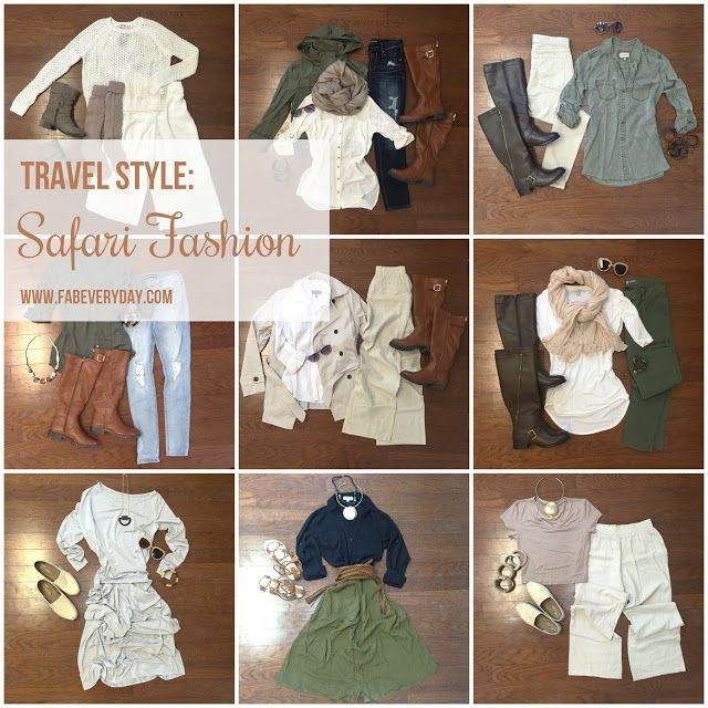 Travel Tuesday: Safari Style. 10 Outfits for an East African Safari. See more safari fashion on FabEveryday.com.