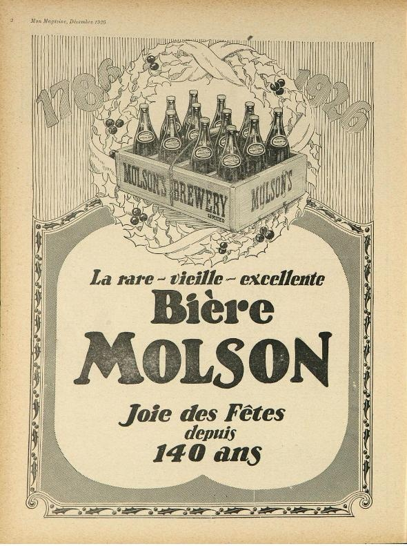 1926 Molson Brewery Christmas Beer Ad
