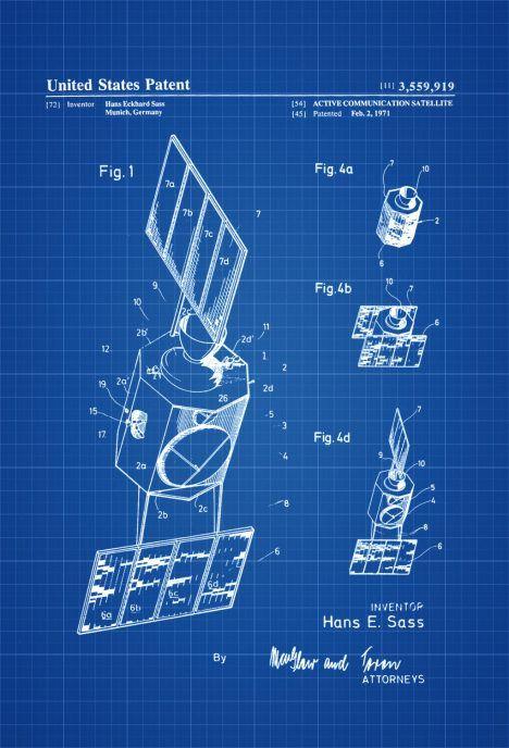 Communication Satellite Patent   Space Art, Space Poster, Space Program,  Rockets, Aircraft Decor, Aviation Art, Blueprint, Pilot Gift