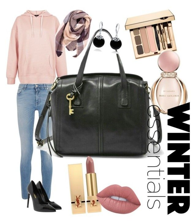 """""""Fossil Emma on Winter"""" by ibuperi on Polyvore featuring New Look, Givenchy, Yves Saint Laurent, Everest, Lime Crime, Bulgari and Bling Jewelry"""