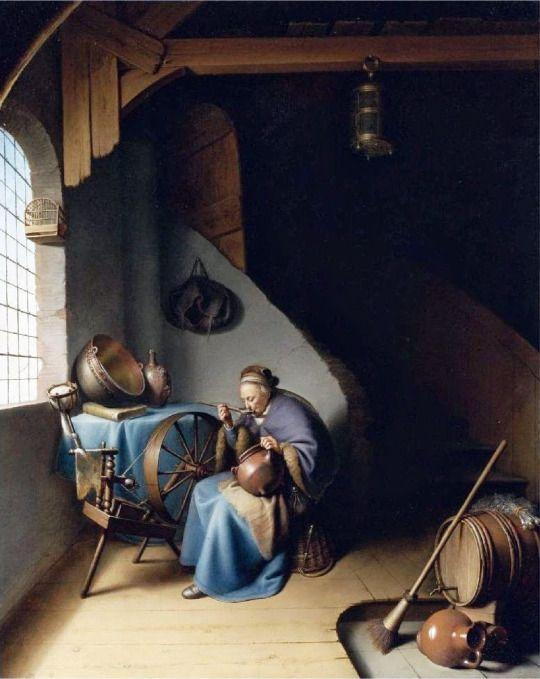 Gerrit Dou - Woman Eating Porridge c 1632-37. lilacs and wild geese