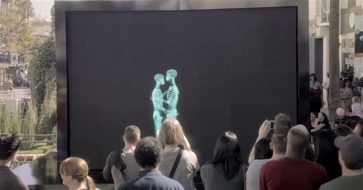 VIDEO: Skeletons Hug, Kiss, And Dance Before A Crowd. When They Step Out From The Screen? I'm Smiling.   #LOVE #SAMELOVE #SOGOOD