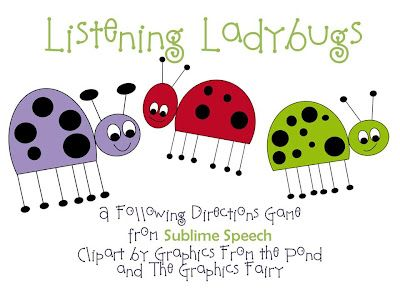 Listening Ladybugs: Following Directions Activity-single and multi-step! From Sublime Speech. Pinned by SOS Inc. Resources @sostherapy.