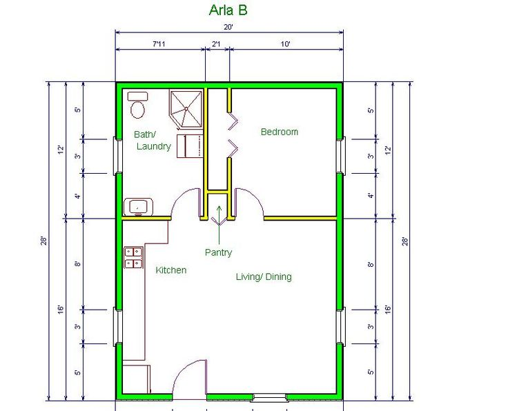 20 39 x20 39 apt floor plan arla model b floor plan 20 x for Garage guest house plans