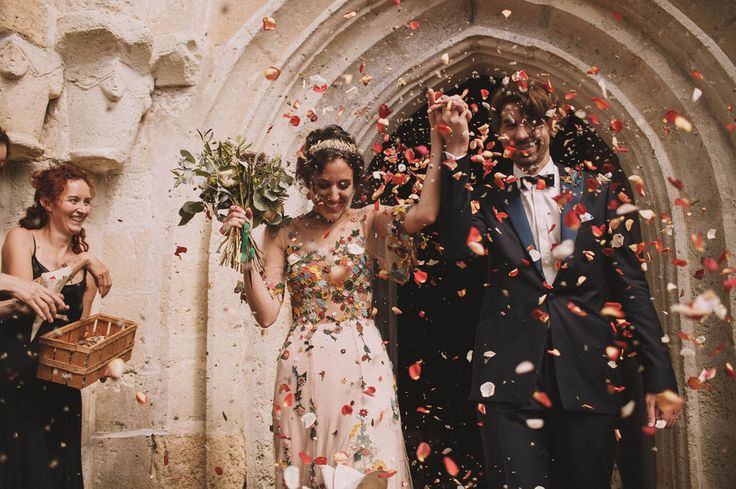French Countryside Wedding, exiting the church with rose petal exit