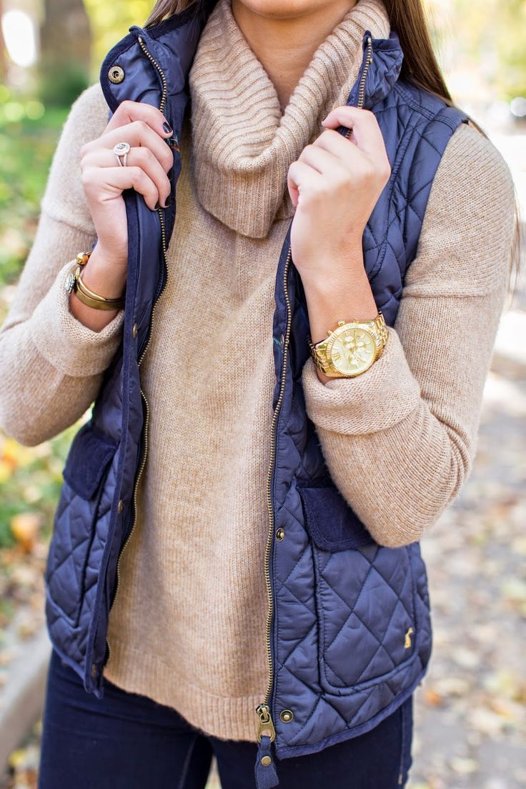 Cozy fall outfit - love the colored vest with the tan sweater