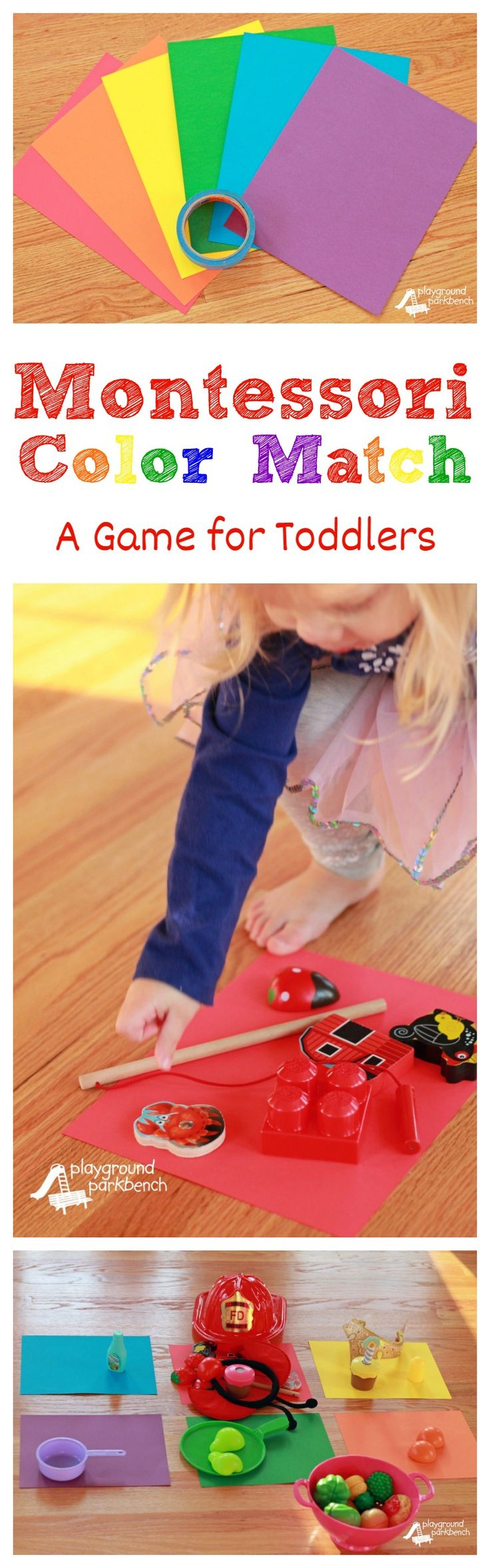 Montessori Color Match - An Easy Game for Toddlers.  Teach your toddler to discern and name their colors with this super simple game