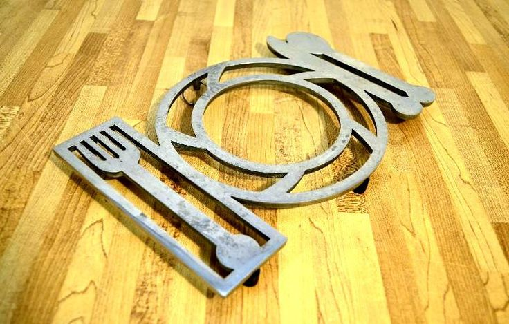 Midcentury Copco Trivet Aluminum Wall Hanging Place Setting Fork Knife Spoon Charger Plate by VintageRescuer on Etsy
