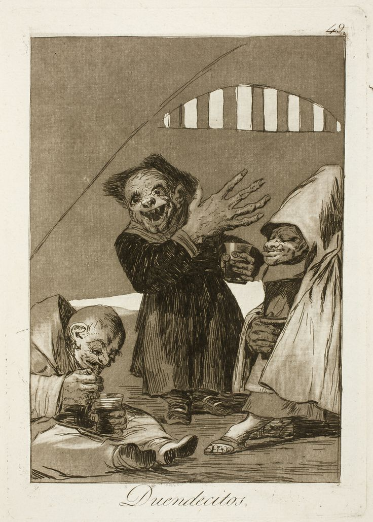 "Francisco de Goya: ""Duendecitos"". Serie ""Los caprichos"" [49]. Etching and aquatint on paper, 214 x 151 mm, 1797-99. Museo Nacional del Prado, Madrid, Spain"