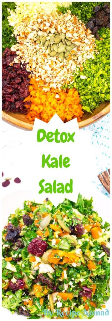 You're going to love this delicious and healthy Detox Kale Salad- loaded with kale, broccoli, cauliflower, carrots, nuts and dried fruit, then drizzled with a maple lemon dressing!  http://www.recipenomad.com/detox-kale-salad/  Detox Kale Salad | Recipe Nomad