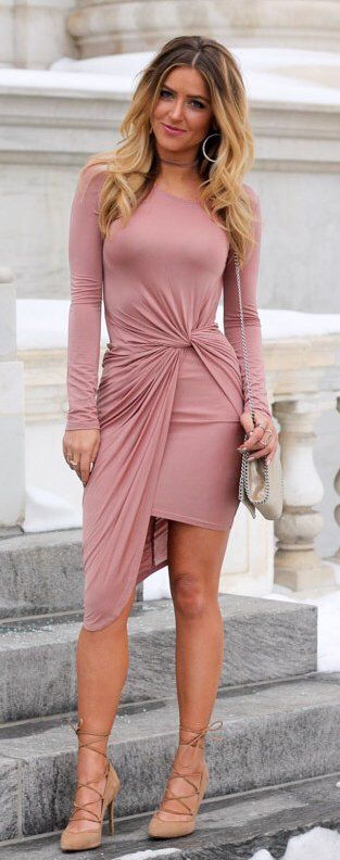Pink Bandage Dress / Camel Laced Up Pumps