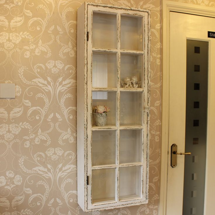 Antique White Distressed Wall Display Cabinet