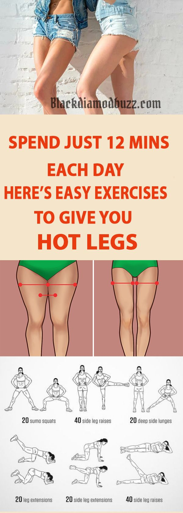 You may think that burning fat on your legs is a very difficult and time-consuming job, but today we're going to prove that you are wrong. You will only need 12 minutes a day to get rid of the stubborn fat on the thighs.