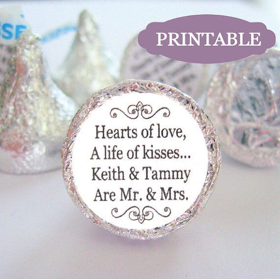 Printable Mr And Mrs Kisses Stickers Labels Diy Kiss Wedding Favors Hershey On Etsy 8 00 Quotes In 2018 Pinterest