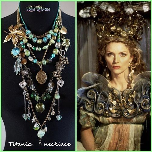 https://flic.kr/p/RnKBRt | TITANIA necklace | MIDSUMMER NIGHT'S DREAM inspired statement necklace. Vintage brooches, pendant,s charms, glass beads, chains. Golden-Turquoise-Green colours.