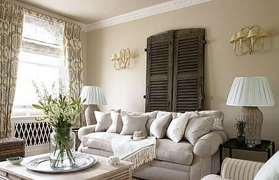 love the black shutters on the latte colored wallsIdeas, Powder Room, Old Shutters, Interiors Design, Living Room, Wall Sconces, Old Doors, Families Room, Windows Shades