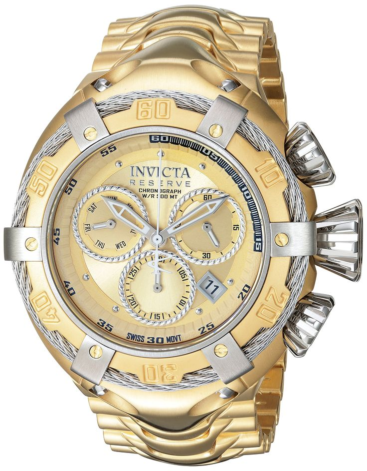Invicta Men's 'Bolt' Swiss Quartz Stainless Steel Casual Watch, Color:Gold-Toned (Model: 21345). 500m; chronograph functions with 60 second, 30 minute and day of the week sub dials; date window between 4:00 and 5:00; unidirectional bezel with stainless steel accents and cable wire; luminous. Gold dial w/silver tone and white hands & silver tone hour markers; screw-down stainless steel crown & pushers; exhibition case back; flame fusion crystal; 18k gold ip stainless steel case & bracelet....