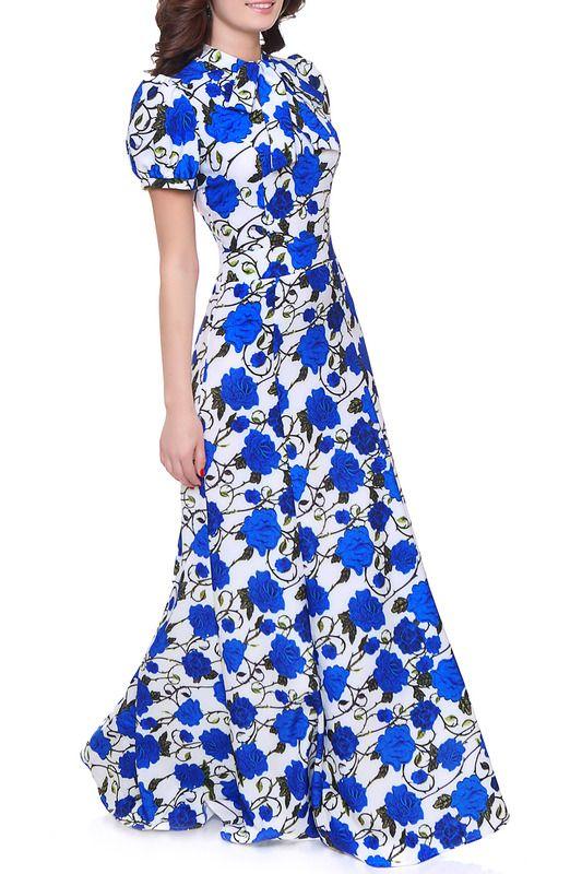 синее длинное платье из трикотажной ткани