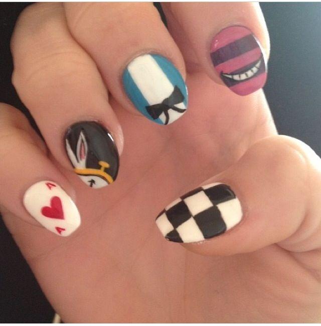 Alice in wonderland nail design
