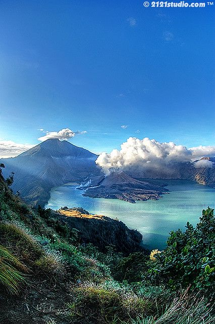 Mount Rinjani, Lombok...this looks unreal, like Neverland