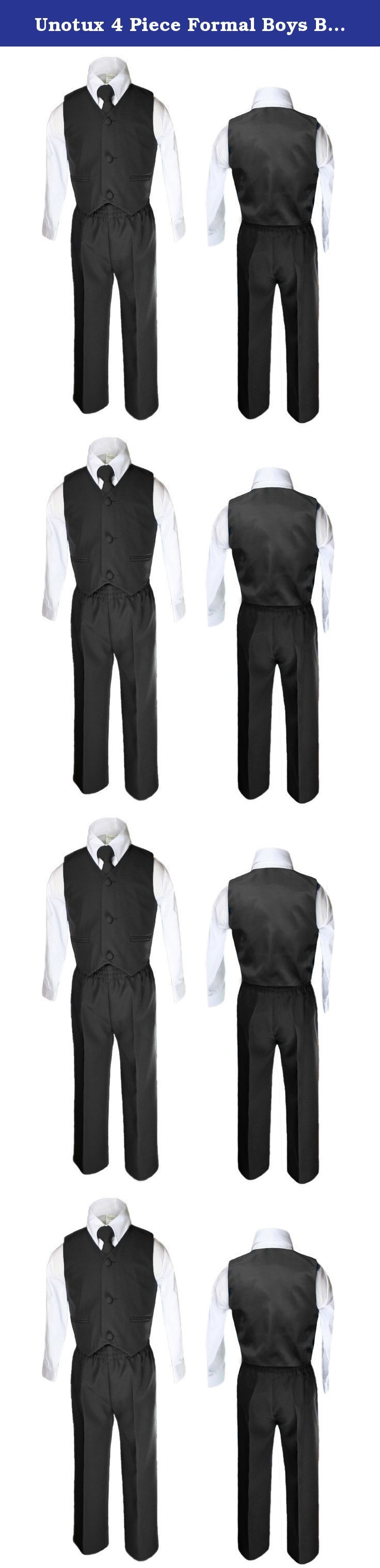 Unotux 4 Piece Formal Boys Black Vest Necktie Sets Suits From 0 Month to 7 Years (4T). 1.The long white shirt is made out 35% cotton, 65% polyester fabric. 2. Matching solid color vest with cover buttons. 3. Matching pants, a hidden fly zipper in the front, belt loops and an adjustable elastic waistband. There are angled pockets on each side of the pants and two buttoned welt pockets on the back. Note: baby and toddler sized (S M L XL 2T 3T 4T) pants do not have a fly zipper and belt…