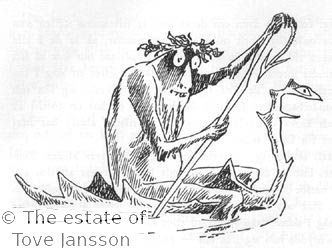 Tove Jansson's illustrations to J. R. R. Tolkien: Bilbo – en hobbits äventyr, Rabén & Sjögren, 1962, p. 78 - Gollum in his boat