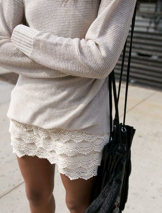 lace skirt paired with oversized comfy sweater. can take this into fall paired with boots and leggings/ stockings.