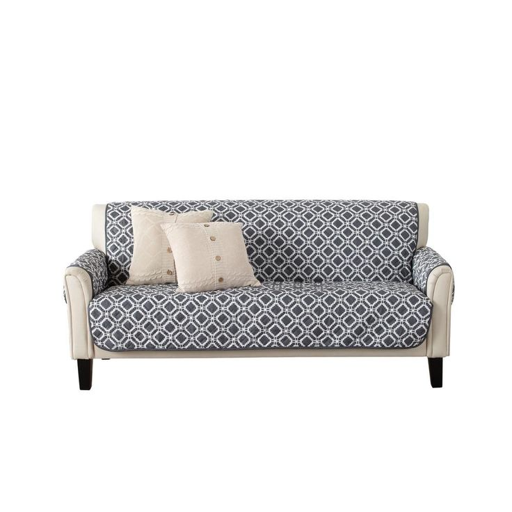 Great Bay Home Liliana Collection Steel Grey Printed Reversible Sofa Furniture Protector Gb38052 The Home Depot Furniture Protectors Sofa Furniture Furniture