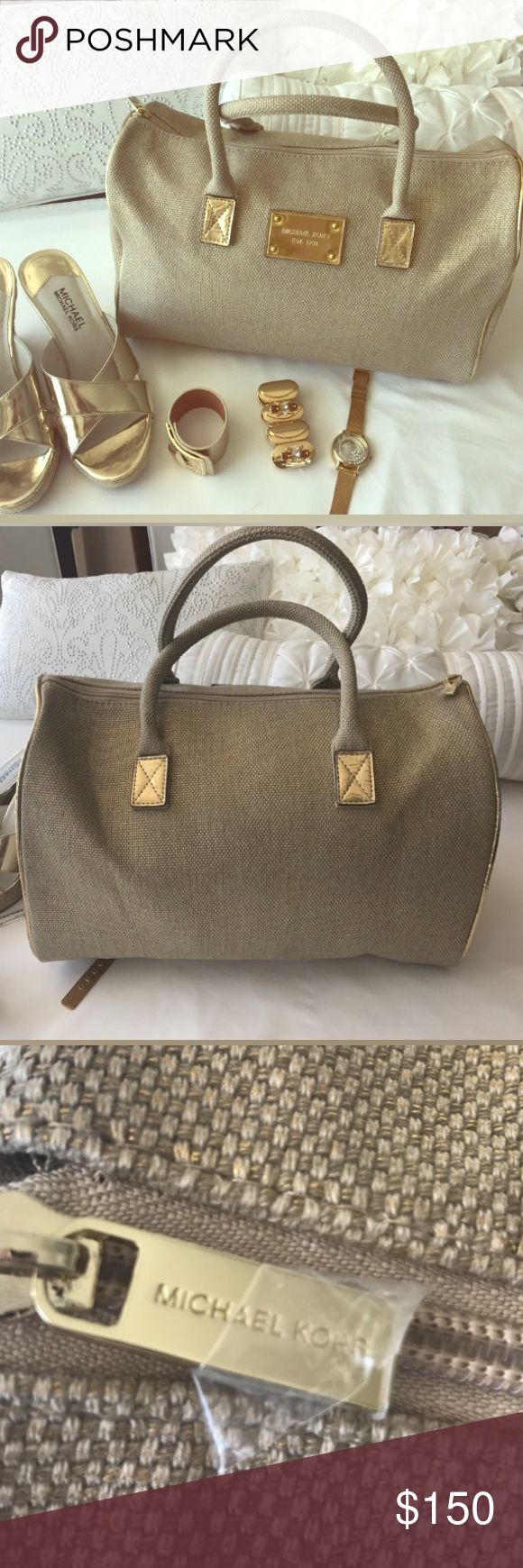 Michael kors canvas bag Great condition! Barely used, like new Michael Kors Bags Satchels