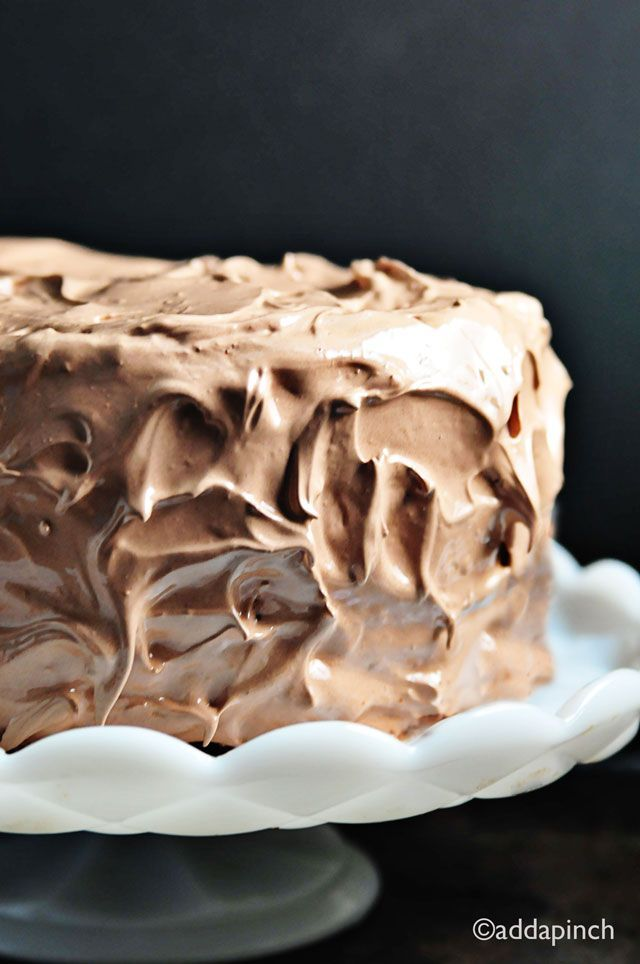 Chocolate Velvet Cake Recipe | Rich chocolate cake with amazing frosting! from addapinch.com