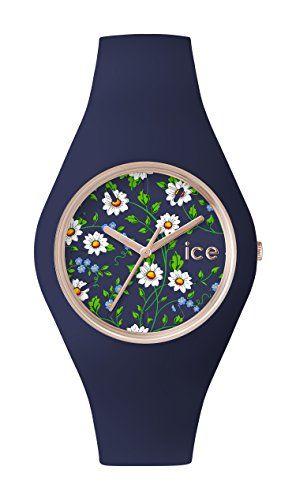 ICE-Watch - ICE.FL.DAI.U.S.15 - Ice Flower - Daisy - Montre Femme - Quartz Analogique - Cadran Bleu - Bracelet Silicone Bleu