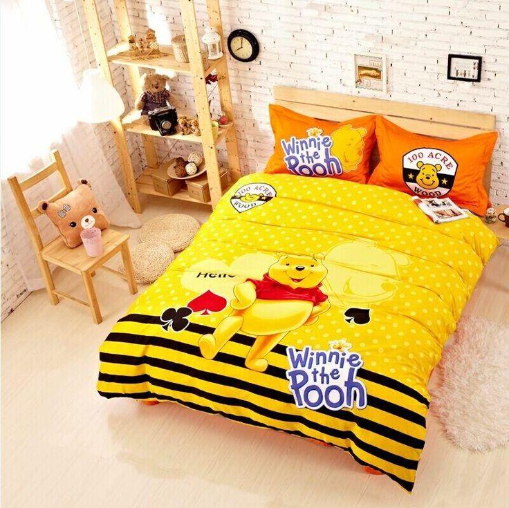cute cartoon winnie the pooh yellow bedding set twin queen king size cotton quality duvet cover sheet bedset 4pc bedset linen