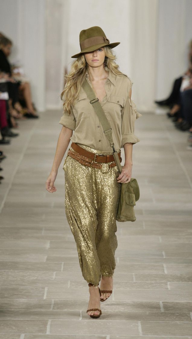 To The Forlorn Parachute Pants | Man Repeller. Gold Glitter Harem Pants done in a safari style! Super cute!