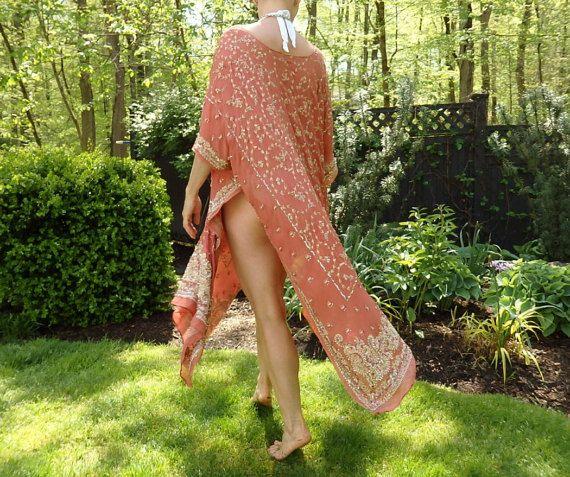 Caftán de seda, seda caftán, cubrir, vestido playa, vestido maxi, vestido tribal, marroquí vestido, vestido de cuentas, túnica